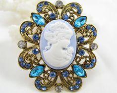 BLUE Crystal Rhinestone CAMEO Brooch Pin