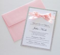 Bat Mitzvah Invitation - Light Pink and Silver Glitter - Embellished Paperie LLC Quince Invitations, Silver Wedding Invitations, Sweet Sixteen Invitations, Glitter Invitations, Invitation Envelopes, Elegant Invitations, Birthday Invitations, Wedding Cards, Invitations For Quinceanera