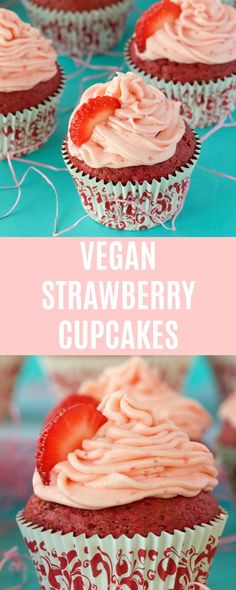 These pretty pink vegan strawberry cupcakes are deliciously spongey and moist and packed with strawberry flavor! Topped with a delicious strawberry frosting these are perfect for any special occasion. #vegan #lovingitvegan #vegancupcakes #vegancakes #dairyfree #vegandessert | lovingitvegan.com