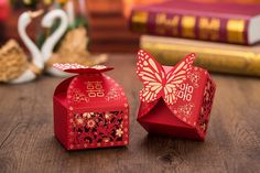 Wedding favor box - Double Happiness - Happy Butterfly