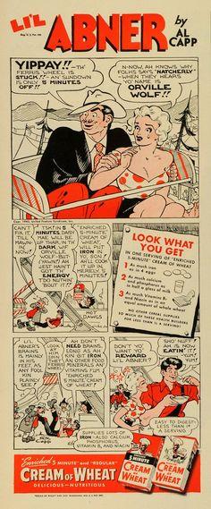 1943 Ad Cream Wheat Li'l Abner Comic Cartoon Carnival Ferris Wheel Art Al LF5