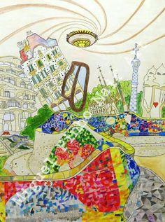 Barcelona extravagante. Pintura a lápis no papel com 80 X 60