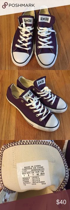 Converse All Star Low. Purple. M7/W9. A purple pair of Converse All Star. Has been worn once (indoors) close to no wear on the soles (see pictures). No tags or box. Men's 7, Women's 9. Purchased in 2011, stored since. Converse Shoes Sneakers