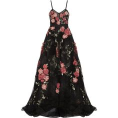 Marchesa Embellished appliquéd tulle gown ($6,995) ❤ liked on Polyvore featuring dresses, gowns, marchesa, persephone, suknie, black, sequin gown, floral applique gown, sequin evening gowns and floral gown