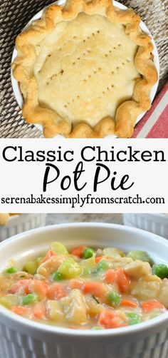 Chicken Pot Pie is filled with chicken, carrots and peas in a creamy gravy. Then covered with a tender flaky crust for the ultimate comfort food dish!