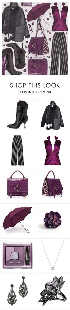 """""""Puddle Jumper: Rainy Day Outfit"""" by tempestaartica ❤ liked on Polyvore featuring Miu Miu, Alice + Olivia, Versace, Gizelle Renee, Bourjois, Links of London, John Brevard, Jools by Jenny Brown and rainydayoutfit"""