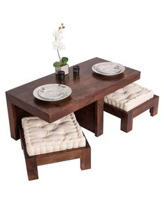 Dark Shade Dakota Coffee Table Set with Two Stools 100% Solid Wood - Homescapes Coffee Table With Seating, 3 Piece Coffee Table Set, Solid Wood Coffee Table, Coffee Table Design, Decorating Coffee Tables, Low Coffee Table, Wood Furniture Living Room, Home Decor Furniture, Furniture Design