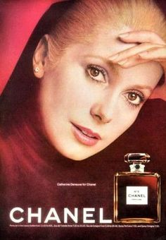 """An original 1974 advertisement for Chanel No. 5 perfume. Featuring French actress Catherine Deneuve beautiful in red. """"Catherine Deneuve for Chanel"""" -1974 Chanel No. 5 perfume advertisement -An origin"""
