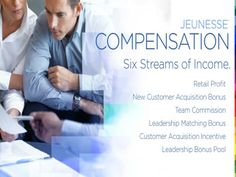 Compensation on how you get paid.  For your FREE 7 day Trial of Luminesce Serum go to:  http://karonduffin.jeunesseglobal2.com/
