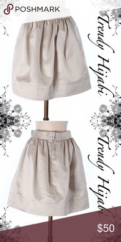 """Quillaree Formal Skirt Size 4 A-Line silhouette Beige Solid Dry clean only Measurements 17"""" Length Materials 100% Polyester Quillaree Skirts A-Line or Full"""