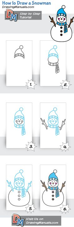 Draw a snowman - Christmas Drawings 🎅 Christmas Doodles, Christmas Drawing, Christmas Art, Drawing For Kids, Art For Kids, Crafts For Kids, Doodle Drawings, Easy Drawings, Draw A Snowman