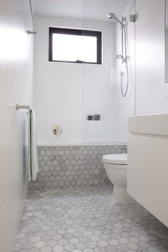 foomann - architecture + design | murray street, elsternwick, white bathroom with marble hexagon tiles