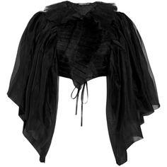 Thomas Wylde Pray silk-organza bolero ($423) ❤ liked on Polyvore featuring outerwear, jackets, coats, black, women, thomas wylde, bolero jackets, gothic jackets, goth jacket and pleated jacket
