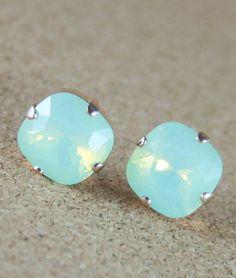Crystal earrings Green opal