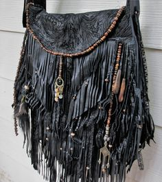 Black leather fringe bag with wood beads by ShellB