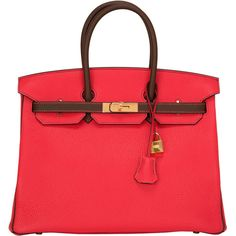 b41d1efcec3e Pre-owned Hermes Bi-color SO Horseshoe Rouge Pivione Cacao Birkin 35cm  ( 25