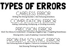 of Errors poster to hep students better understand and analyse their mistakes. Math = Love: Analyzing Errors - Free PosterTypes of Errors poster to hep students better understand and analyse their mistakes. Classroom Posters, Math Classroom, Classroom Ideas, Classroom Signs, Classroom Organization, Math Teacher, Teaching Math, Teacher Stuff, Teaching Ideas