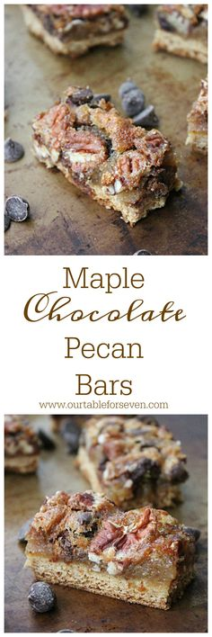 Maple Chocolate Pecan Bars from Table for Seven