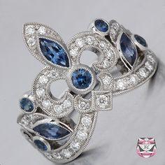 Sapphire Diamond Wedding Band I love the fleur de lis. Sapphire And Diamond Band, Diamond Bands, Diamond Wedding Bands, Diamond Jewelry, Jewelry Rings, Fine Jewelry, Jewellery, Wedding Earrings, Wedding Jewelry