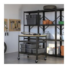 BROR Work bench IKEA A sturdy work bench that fits just as well in the garage as in the kitchen or living room. Can be used indoors in damp areas. Open Shelving, Storage Shelves, Shelving Units, Kitchen Island Trolley, Kitchen Islands, Kitchen Carts, Island Table, Kitchen Cabinets, Pine Plywood