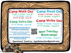 Camp Math, Read, Write, & Solve On! Professional Development for Elementary Teachers  Join our team as we share our passion and excitement for education through classroom tested engagement strategies that will motivate, inspire, and empower you as an educator.  We PROMISE you will leave each of these workshops with a FULL backpack of tips and FUN ideas as well as lots of teacher goodies! Offered by: Top of Tx Teachers Deonia Campbell & Erica Hennigh, the creators of the TX Tornado Spiral…