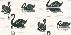 By Lindholm (12-20180) - By Lindholm Wallpapers - A unique bold design of stylised swans in a retro look. Showing in contrasting black on white with red highlights - more colours are available. Please request a sample for true colour match. Paste-the-wall product.
