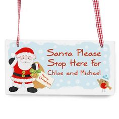 Personalise this Felt Stitch Santa Wooden Sign with a message/names up to 20 characters. Christmas World, Unique Christmas Gifts, Christmas Signs, Merry Christmas, Christmas Ornaments, Xmas, Wooden Christmas Decorations, Special Symbols, Personalized Signs