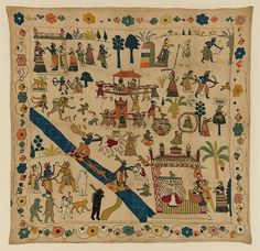 18th C. An Embroidered Rumal (covering cloth) blue-skinned Rama appears at least 9 times with his companions amidst an array of animals and landscapes in Scenes from the Ramayana.. Cotton, Silk metallic thread. 26 x 26. Chamba, Northern India