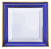 Gracefully set your table with these upscale heavyweight Square Splendor plastic dinnerware with bold blue and gold band. Fancy Plastic Plates, Plastic Dinnerware, Gold Bands, Blue Gold, Frame, Party, Table, Design, Home Decor