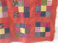 floating 9-patch.  red sashing & border.  Early RED Nine-Patch Calico Quilt TOP~PA Mint