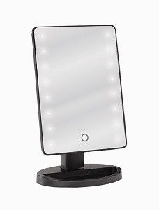 "Our LED Tabletop Mirror is a standing portable wireless vanity mirror with smooth black finish. Full mirror and stand measurements are 6.5"" x 11"" making it ideal for your bathroom counter, dressing ta"