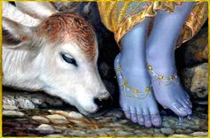 """✨ SHRI KRISHNA ✨ Artist: Hari Om http://www.artforheart.in/ """"My dear Lord, Your two lotus feet are so beautiful that they appear like two blossoming petals of the lotus flower which grows during the..."""