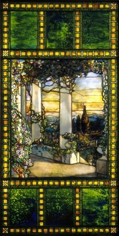 Louis Comfort Tiffany Landscape with a Greek Temple, 1900. Stained glass (1848-1933) Cleveland Museum of Art: