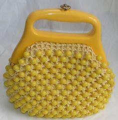 Vintage Yellow Marcus Brothers Beaded Handbag