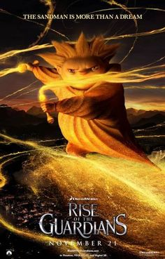 This character poster of the Sandman in Rise of the Guardians reminds us of the Heat Miser from 'The Year without a Santa Claus'.