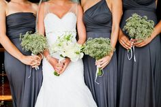 South African wedding - lovely grey bridesmaid dresses!