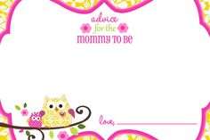 Owl Happi Tree Shower advice cards Baby Shower Advice, Shower Ideas, Food Tags, Girly Girls, Advice Cards, Baby Owls, Sadie, Shower Invitations, Projects To Try