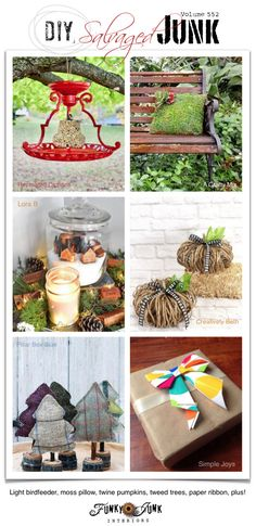Visit 20+ NEW DIY Salvaged Junk Projects 552 - Light bird feeder, moss pillow, twine pumpkins, tweed trees, paper ribbon, plus! Learn how to make these up-cycled projects and more on Funky Junk! Woodworking Projects That Sell, Diy Woodworking, Diy Home Decor Projects, Craft Projects, Succulent Outdoor, Glass Hummingbird Feeders, Fabric Christmas Trees, Fabric Tree, Unique Christmas Decorations