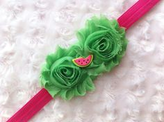 Green and Hot Pink Watermelon Shabby Chic Flower Headband, Flower Headband, Girls Hair Accessories, Baby Headband, Toddler Headband, Adult Headband, Girls, Infants, Women by BandsForBabes, $7.00