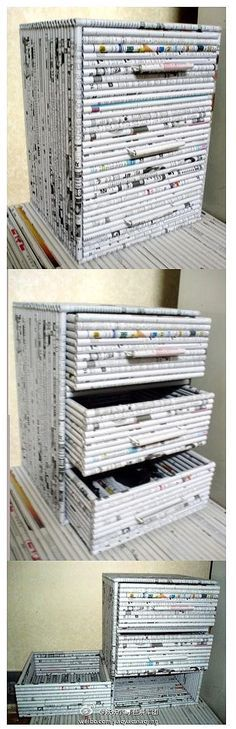 DIY Drawers out of newpapers or magazines…I could only find the picture.I hop… DIY Drawers out of newpapers or magazines…I could only find the picture.I hope one day I can find the step by step.great idea though 종이 Recycled Magazines, Recycled Crafts, Recycled Jewelry, Fun Crafts, Diy And Crafts, Arts And Crafts, Paper Weaving, Diy Drawers, Newspaper Crafts