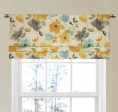 Jacqueline Faux Roman Shade Valance with Large Contemporary Florals Large Window Treatments, Contemporary Window Treatments, Window Coverings, Rose Curtains, Valance Curtains, Valance Ideas, Curtain Ideas, Window Valances, Burlap Curtains