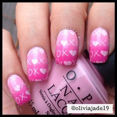 valentine by oliviajade19 #nail #nails #nailart So cute!  I'll probably do this next! ♥