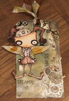 Fun challenge at StampARTic, where we challenge YOU to make a Steampunk card. I made these to project for the challenge, a card with my new Steampunk stamps and a tag with a digistamp from Octopode Factory. Gears is from Vintaj, Tim Holtz and some others :-)