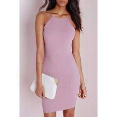 Solid Color Bodycon Spaghetti Straps Dress (32 BAM) via Polyvore featuring dresses, bodycon dress, purple dress, body conscious dress, spaghetti strap dress and body con dress