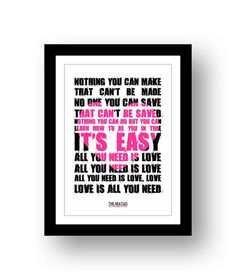 The Beatles All You Need Is Love 6 by RetrotypePrints on Etsy