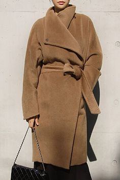 Trendy Turn-Down Collar Long Sleeve Solid Color Self Tie Belt Coat For Women