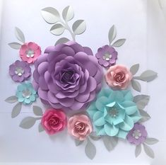 Set of 10 UNIQUE Paper Flowers & 11 Paper Leaves, paper flowers wall decor, girls room decor, nursery wall, wedding paper flowers wall Paper Flowers Craft, Paper Flower Wall, Paper Flower Backdrop, Flower Wall Decor, Flower Crafts, Flower Decorations, Giant Paper Flowers, Felt Flowers, Diy Flowers