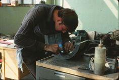 Scott scraping a babbit bearing (Roger Johnson)