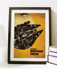Star Wars - Millenium Falcon A3 Poster Vintage Print.