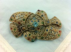 Gatsby Art Deco Colorful Rhinestone Brooch, Fruit Salad Vintage Jewelry. on Etsy, $45.00